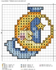 alfabeto azzurro sole stella luna: J