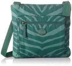 Coach F77541 Green Zebra Getaway Crossbody File Bag Nylon. Great quality you expect from Coach. Durable nylon. Great for rainy days.