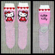 Hello Kitty - sukat, Novitan 7- veljestä lanka ja puikot 3 1/2. Socks, Hello Kitty, Sock, Stockings, Ankle Socks, Hosiery