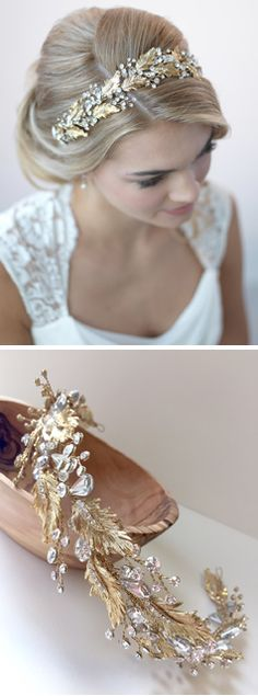 Botanical Leaf & Crystal Headband is a stunning bridal headpiece inspired by nature. This piece features beautifully detailed gold leaves, accented with marquis and round shaped rhinestones along a hand-wired band.
