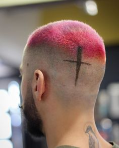 Hot pink high fade haircut for men Buzz Haircut, Buzz Cut Hairstyles, Waves Haircut, Stubble Beard, Beard Fade, Taper Fade, Cool Haircuts, Haircuts For Men, Buzz Cut Styles