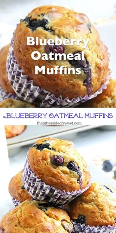Blueberry Oatmeal Muffins are the prefect way to start your day! With a few simple ingredients and fresh berries these are super easy to make! Gluten Free Bars, Easy Gluten Free Desserts, Easy Desserts, Delicious Desserts, Dessert Recipes, Recipes Dinner, Blueberry Oatmeal Muffins, Blue Berry Muffins, Blueberry Desserts