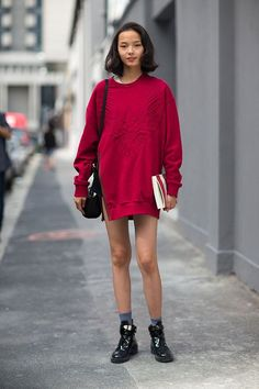 red pullover and shoes