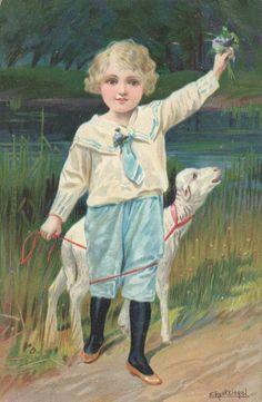 Artist Signed E Reckziegel Child BOY With Lamb Sheep   eBay