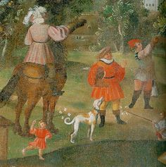 Sommer:Juli - Reiter, Falkner und mit Windrädern spielende Jungen Zustand nach der Restaurierung   (Rider, falconer, and boy playing with pinwheels. State after restoration)