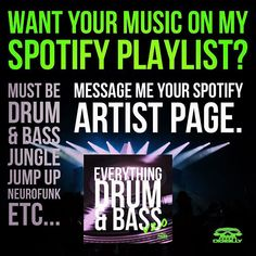 Have you music on Spotify and want to get it heard? Do you produce Drum & Bass Jungle Jump Up or Neurofunk? Send me you Spotify artist page and Ill add you. Lets build a following together! Link to playlist is in my bio... #dj #djlife #producers #dnb #drumandbass #dnb4life #drumnbass #dnblife #bass #bassmusic #dj #rave #junglist #sickmusic