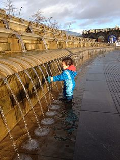 'Our 18-month-old son is fascinated by flowing water. We made aspecial trip to Sheffield last December, just so he could play in the cascades outside the train station'