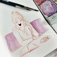 Coffee Break by juditmallolart Girl Drawing Sketches, Cartoon Girl Drawing, Pencil Art Drawings, Cool Drawings, Art Drawings Beautiful, Animal Coloring Pages, Art Challenge, Art Auction, Art Sketchbook