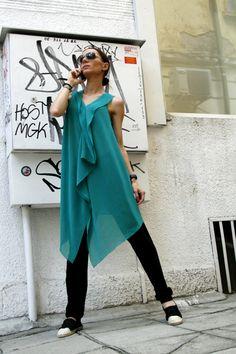 Asymmetrycal  Summer Top / One  Size Tunic Dress / Turquoise Green Chiffon Tunic Top A02016