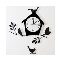 壁掛け時計 静音時計 メタル製 アニマル時計 ハウス&鳥&ツリー