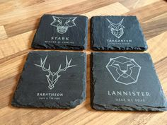 Game of Thrones engraved coasters.