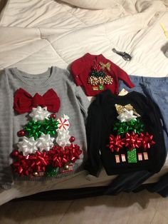 DIY ugly Christmas sweaters using gift bows and double stick tape.