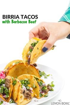 The best authentic beef birria tacos recipe made with slow cooker beef barbacoa - the perfect weeknight recipe! #slowcooker #taco #dinner #easydinner