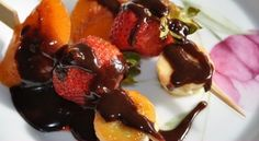"""Chocolatella"" fruit skewers"