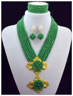 Splendid 2016 New Green Crystal Costume Necklaces Nigerian Wedding African Beads Jewelry 10005 -- AliExpress Affiliate's Pin. Click the VISIT button to enter the website