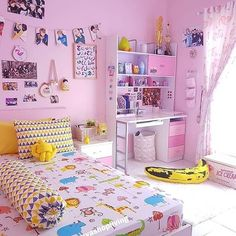 56 ideas bedroom girls pink small rooms for 2019 Small Room Bedroom, Bedroom Bed, Trendy Bedroom, Bedroom Colors, Girls Bedroom, Bedroom Decor, Small Rooms, Bedrooms, Kawaii Bedroom