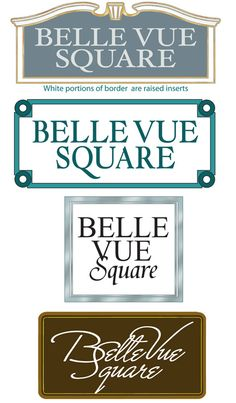 Entrance signs by Strata Sign Company. Belle Vue Square home development. www.customoutdoorwoodensigns.com