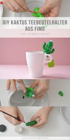 Diesen Kaktus Teebeutelhalter aus Fimo kannst Du ganz einfach selber machen! Schau Dir das Videotutorial und die Schritt-für-Schritt-Anleitung auf dem Blog an. Die Anleitung ist definitiv für Anfänger geeignet und der Teebeutelhalter kann super gemeinsam mit Kindern gebastelt werden. Macht sich auch prima als Geschenkidee und DIY-Idee für kalte Herbsttage. #diy #kaktus #fimo #polymer clay