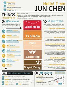 Jun's infographic resume by Jun Chen, via Behance