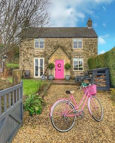 Pink Bike, Yellow Doors, Pink Cotton Candy, England And Scotland, Hello Spring, Cottage Homes, Get Outside, Cabin, House Styles