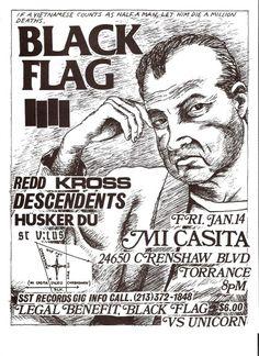 Black Flag, Redd Kross, Descendents, Husker Du , St. Vitus punk hardcore flyer by The Change Zine, via Flickr
