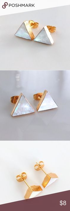 Gold-plated mother-of-pearl triangle stud earrings CLOSET CLOSING CLEARANCE!  All prices are firm; no additional offers accepted.  I'm earning no profits, just liquidating everything before moving abroad.  I'm listing as many items as I can as quickly as I'm able, but things are selling fast, so grab your faves while you can!  Nickel and lead free. Jewelry Earrings