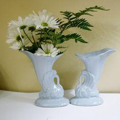 Pair Vintage Porcelain Swan Trumpet Flower by OldStuffAndAntiques
