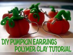 How To Make Cute DIY Polymer Clay Pumpkin Earrings with step by step tutorial and pictures. #halloween #pumpkin #polymer #clay #earrings #jewelry #crafts #diy
