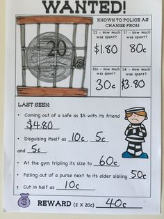 Australian Money Worksheets Higher Order Thinking HOTS Grades 3 and 4. These worksheets are fun and engaging and make students think. They are directly related to curriculum documents. Students make wanted money posters, sort money amounts, find change and make totals using Australian coins and notes. See this resource here: https://www.teacherspayteachers.com/Product/Australian-Money-Worksheets-Higher-Order-Thinking-HOTS-Grade-3-and-4-2746542