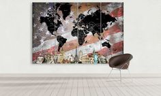 LARGE World Map USA Flag Canvas Panel Wall Art by CanvasFactoryCo