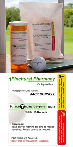 "Cutest golf gift EVER! It's the PARscription© TOP-FLITE® Golf Ball Set that you can personalize as a gift and it includes two amber-colored medicine vials filled with a total of 6 TOP-FLITE® Complete Distance golf balls all for only $19.95! The cutest part is the ""PARscription"" that is written on the bottle - you have to read it! Great gift idea for Father's Day, birthdays, retirements and more! #FathersDay #Golf #GolfGifts #TopFlite"