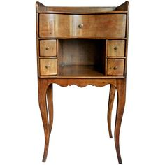 Continental Walnut Side Table | From a unique collection of antique and modern night stands at https://www.1stdibs.com/furniture/tables/night-stands/