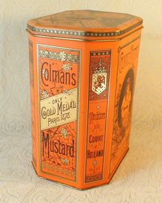 Colman's Mustard Tin - Vintage Salmon Collector's Box on Etsy, $25.00