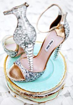 Strappy Miu Miu Swarovski sparkle silver wedding shoes heels stilettoes  bridal hair Toni Kami Wedding Hairstyles ♥ ❷ Wedding hairstyle ideas