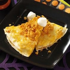 Corn Quesadillas Halloween Dinner Recipes from Taste of Home, including Candy Corn Quesadillas RecipeThe Recipe The Recipe may refer to: Halloween Dinner, Halloween Treats, Halloween Week, Halloween Foods, Halloween Recipe, Thanksgiving Recipes, Fall Recipes, Dinner Recipes, Taste Of Home