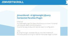 jInvertScroll - A lightweight jQuery horizontal Parallax Plugin