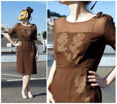 Brown Chiffon Dress. Vintage.