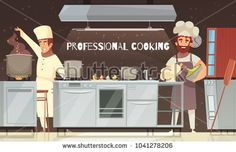 Stock Vector: Culinary specialists during food preparation, professional cooking, restaurant kitchen interior with furniture and equipment vector illustration