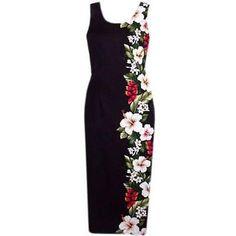 Long, Dress, Hawaiian - Paradise Black Hawaiian Long Tank Dress