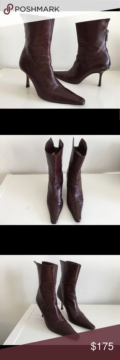 """JIMMY CHOO BURGUNDY LEATHER ANKLE BOOTS SIZE 39 JIMMY CHOO BURGUNDY LEATHER ANKLE BOOTS SIZE 39 COVERED HEEL 3 1/2"""" SHAFT 7"""" BACK ZIP CLOSURE POINTED-TOE MADE IN ITALY  USED IN GOOD CONDITION Jimmy Choo Shoes Ankle Boots & Booties"""
