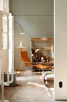 Brick herringbone floor (Living with Art: Galerist Veerle Wenes at Home in Antwerp : Remodelista)