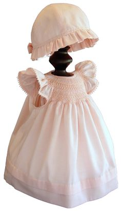 Hand-Smocked Imperial Batiste Angel Sleeve Bishop with or without Bonnet, Various colors via Etsy