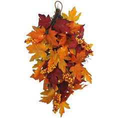 Celebrate Fall Together LED Artificial Leaves Wall Decor (€22) ❤ liked on Polyvore featuring home, home decor, holiday decorations, multicolor, leaf home decor, autumn home decor, colorful home decor and fall home decor