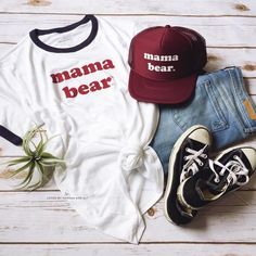 Mama Bear Retro Ringer Tee (Burgundy/Navy) and Mama Bear Retro Trucker Hat (Burgundy)  // @lovedbyhannahandeli #Mamabear #Boymom #momlife #summerstyle #summervibes #retro #motherhood #graphictee