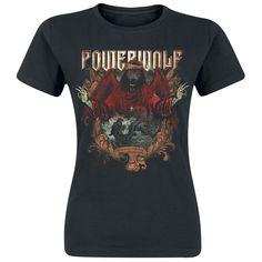 """Maglietta donna a maniche corte """"Sacred & Wild"""" dei #Powerwolf nera con ampia stampa su fronte e retro."""