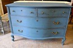 peacock.love {FOR.SALE $445} Buffet/Server/Dresser  Measures: 50w x 26d 36h   Annie Sloan Chalk Paint - Aubusson Blue with coffee and gold glazing - original hardware.
