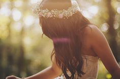 Baby's breath flower crown with veil for me