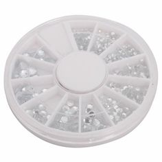 So Beauty 12 Different Size Nail Art Nailart Round Glitter Rhinestones Tips Manicure Decoration Clear  Wheel *** Click image to review more details.