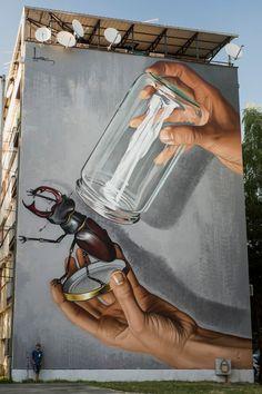 Straßenkunst von Lonac, in Sisak, Kroatien - Street Art Trend 2019 3d Street Art, Urban Street Art, Murals Street Art, Best Street Art, Amazing Street Art, Street Art Graffiti, Mural Art, Street Artists, Amazing Art