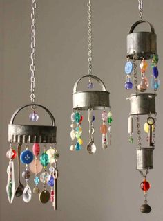 Mini chandeliers made of old silverware, biscuit cutters, and glass beads and buttons.